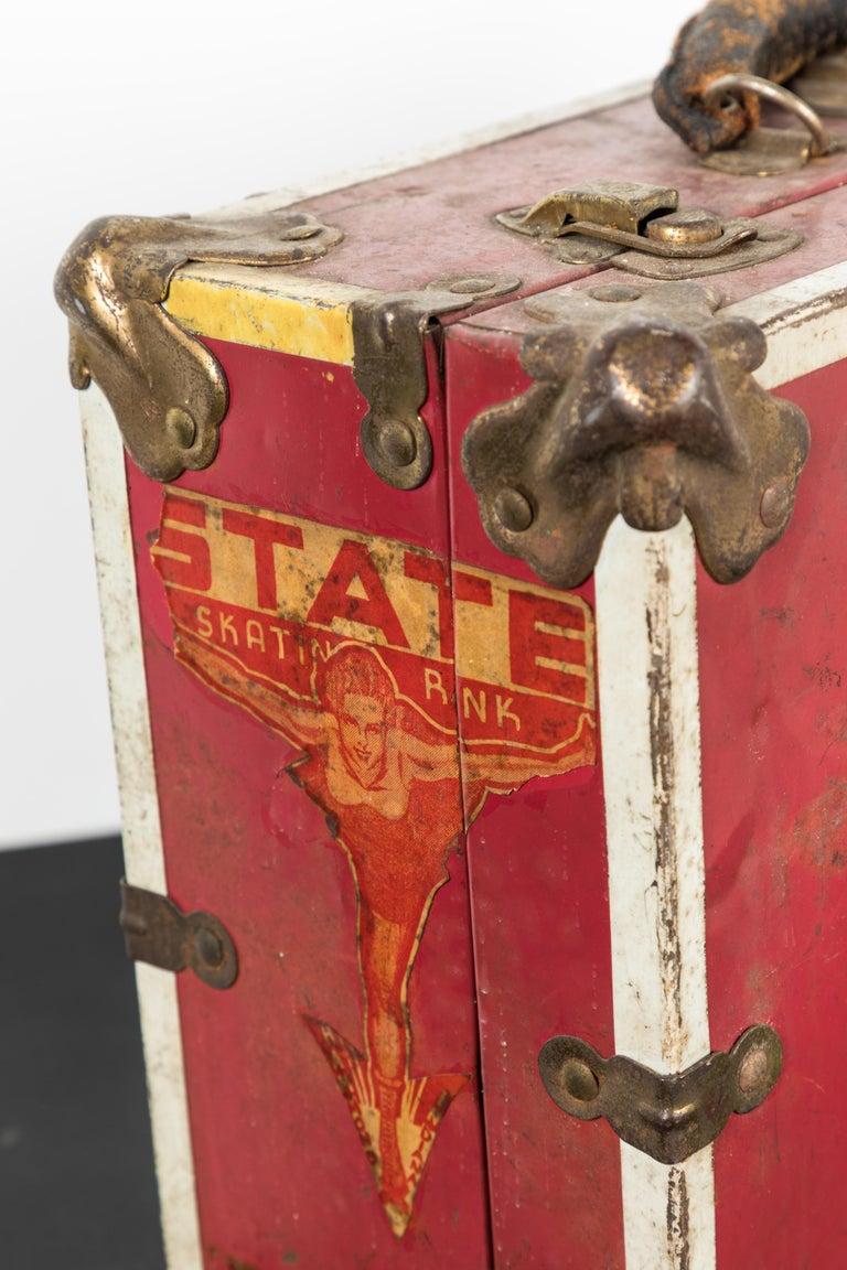 Fantastic pinup images and vintage roller-skating decals. Vintage roller derby skate carrying case. Great visual. Multiple vintage decals from 1940s Illinois roller rinks.