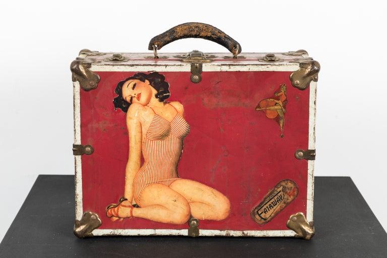 Folk Art Vintage 1940s Pinup Roller Derby Roller Skate Case For Sale