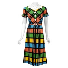 Vintage 1940's Rainbow Plaid Print Cotton Button-Down Belted Swing Dress w/ Tags