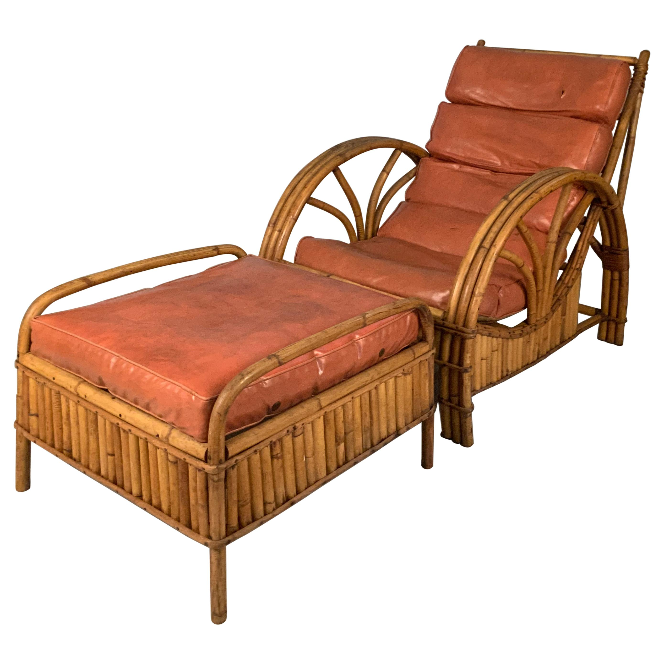 Vintage 1940's Reeded Rattan Lounge Chair & Ottoman