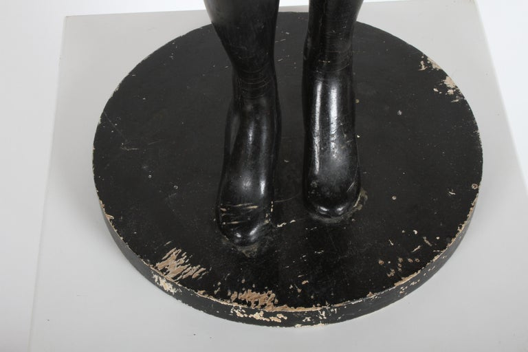 Vintage 1940s Retail Counter Top Female Mannequin Doll Store Display Black Paint For Sale 6