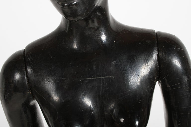 Vintage 1940s Retail Counter Top Female Mannequin Doll Store Display Black Paint For Sale 7