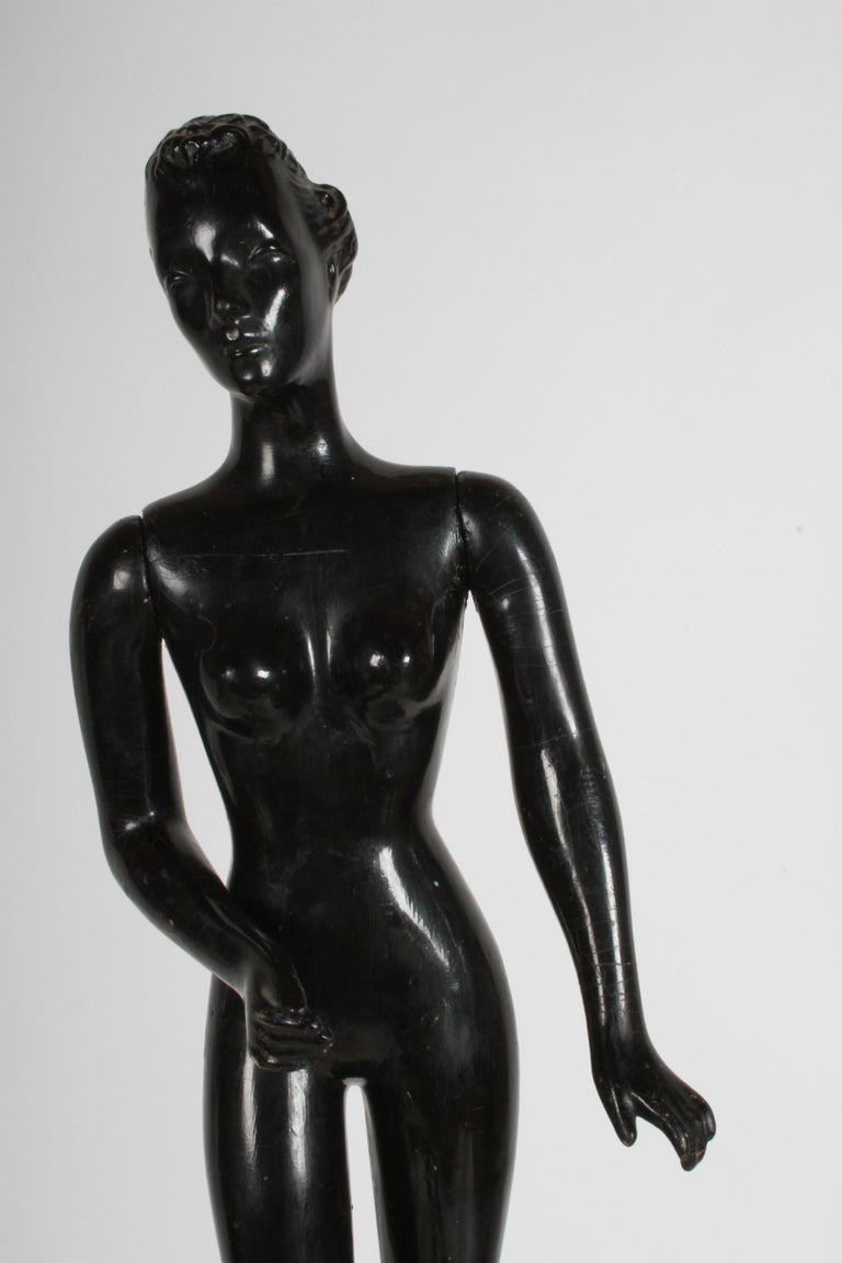 Art Deco Vintage 1940s Retail Counter Top Female Mannequin Doll Store Display Black Paint For Sale