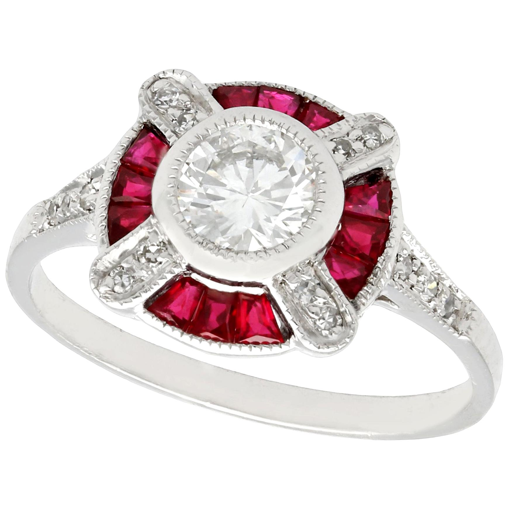 Vintage 1940s Ruby and Diamond Platinum Cocktail Ring