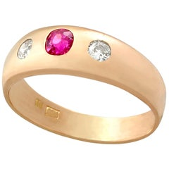 Vintage 1940s Ruby and Diamond Rose Gold Ring