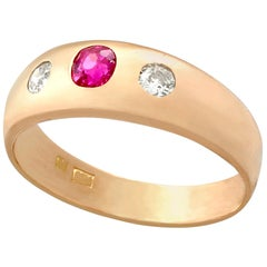 Vintage 1940s Ruby and Diamond Rose Gold Cocktail Ring