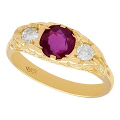 Vintage 1940s Ruby and Diamond Yellow Gold Cocktail Ring