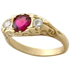Vintage 1940s Ruby and Diamond Yellow Gold Dress Ring