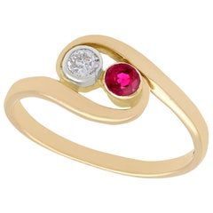 Vintage 1940s Ruby and Diamond Yellow Gold Twist Ring