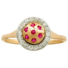Vintage 1940s Ruby Diamond Yellow Gold Cocktail Ring