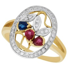 Vintage 1940s Ruby Sapphire Diamond Yellow Gold Cocktail Ring
