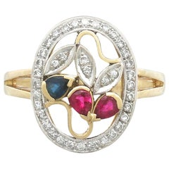 Vintage 1940s Ruby Sapphire Diamond Yellow Gold Dress Ring