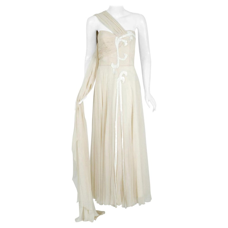 Vintage 1940's Saks Fifth Avenue Ivory Beaded Chiffon One-Shoulder Bridal Gown For Sale