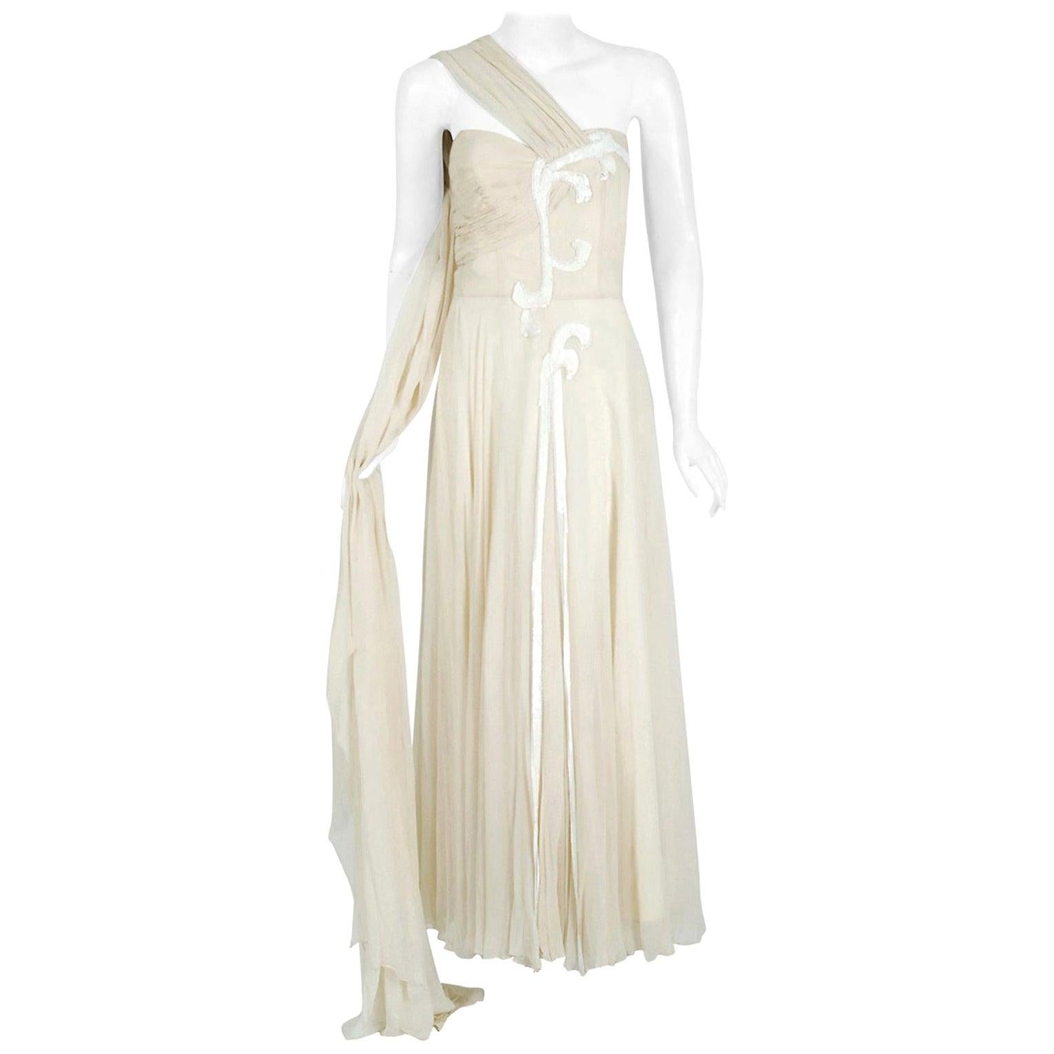 Vintage 1940's Saks Fifth Avenue Ivory Beaded Chiffon One-Shoulder Bridal Gown