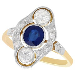 Vintage 1940s Sapphire and Diamond Yellow Gold Cocktail Ring