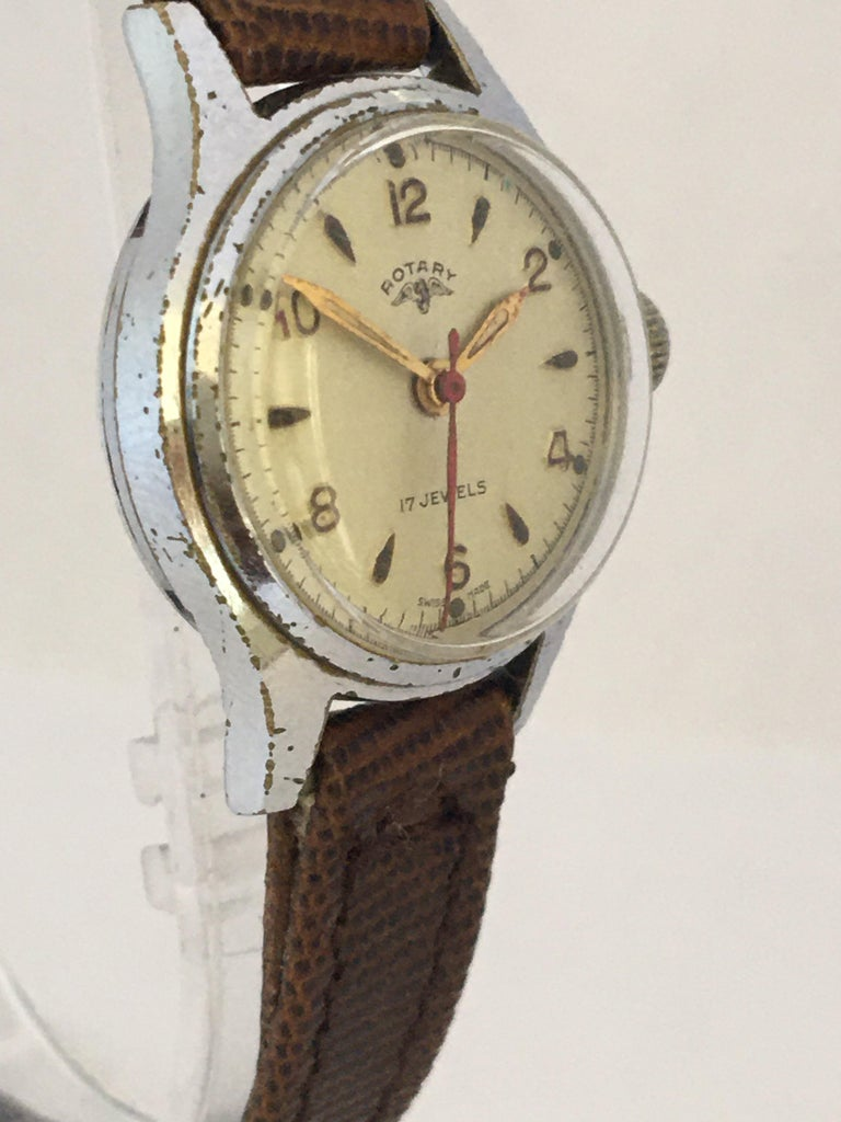 Women's Vintage 1940s Silver Plated Rotary Ladies Mechanical Watch For Sale