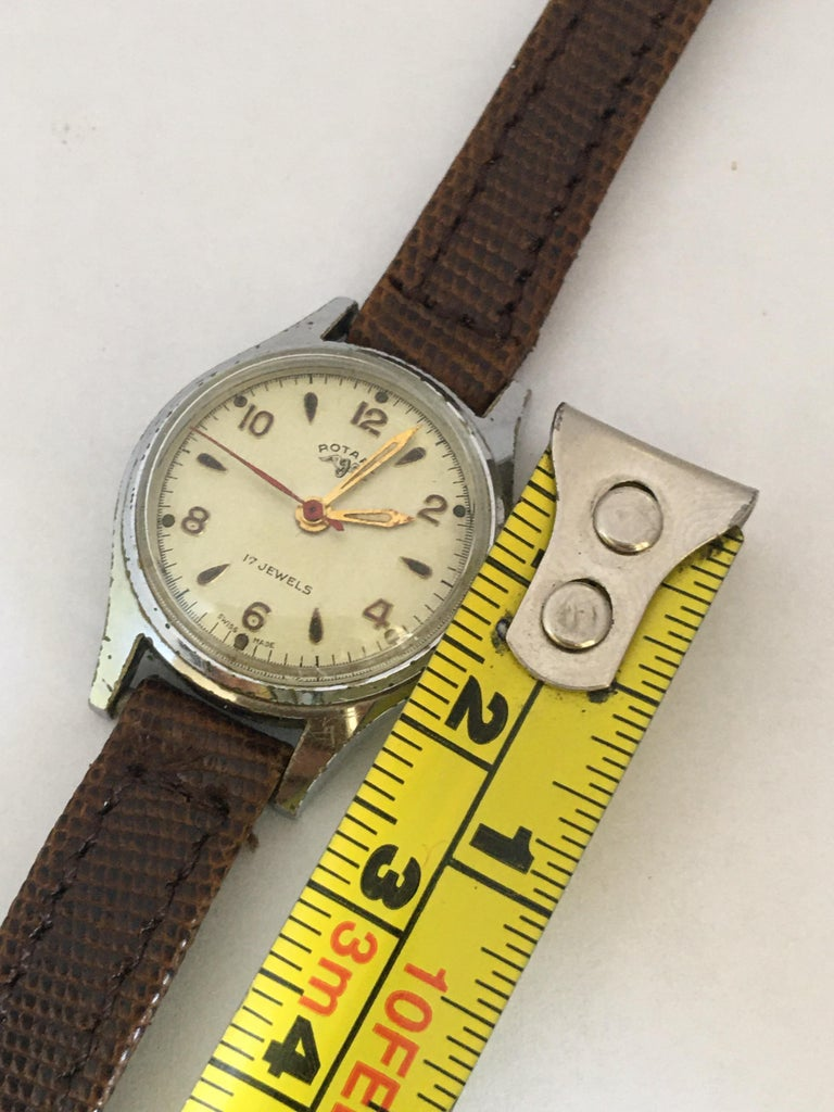 Vintage 1940s Silver Plated Rotary Ladies Mechanical Watch For Sale 4