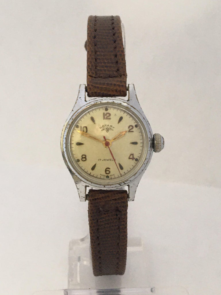 Vintage 1940s Silver Plated Rotary Ladies Mechanical Watch For Sale 5
