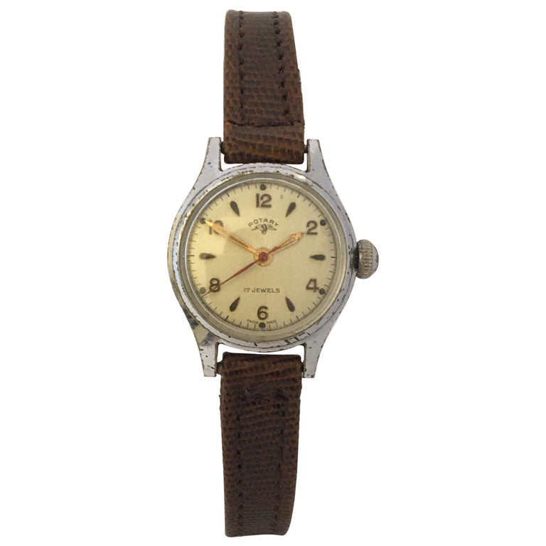 Vintage 1940s Silver Plated Rotary Ladies Mechanical Watch For Sale