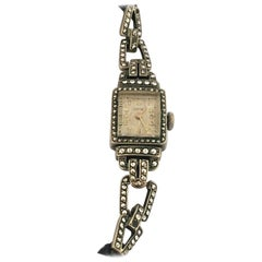 Vintage 1940s Silver Plated and Stainless Steel Marcaseed Ladies Cocktail Watch