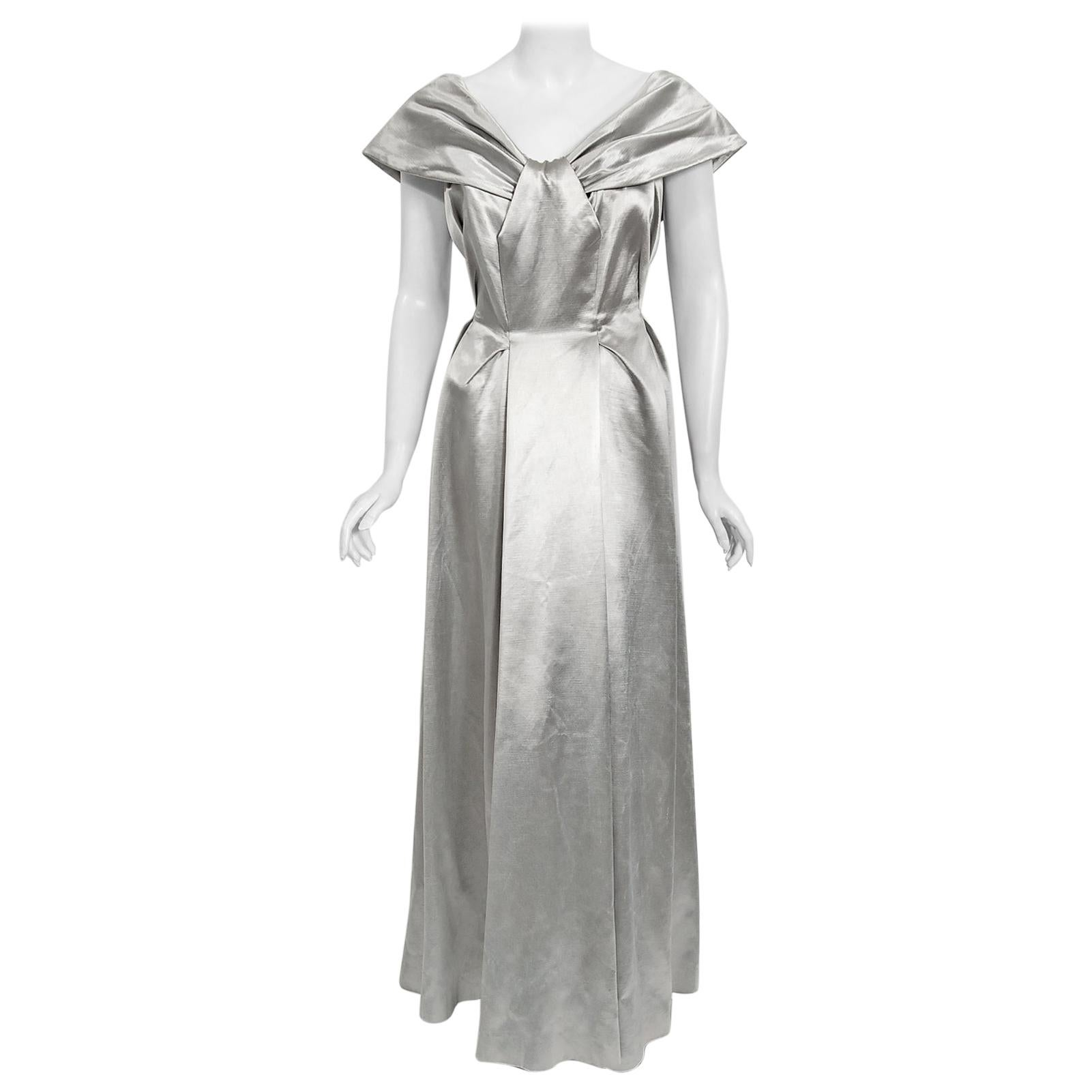 Vintage 1940's Silver Silk Satin Shawl-Collar Low Backside Sculpted Formal Gown