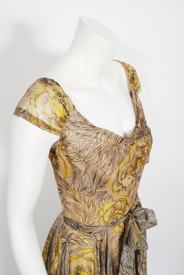 Brown Vintage 1940's Sophie Gimbel Yellow-Roses Floral Silk Cap-Sleeve Plunge Gown For Sale