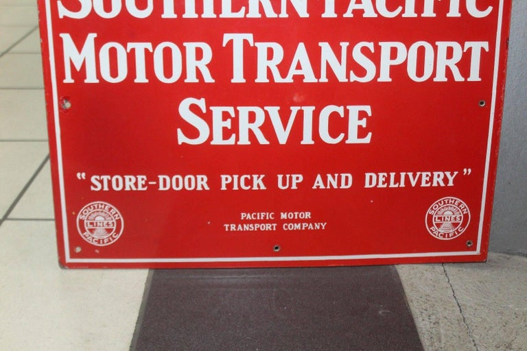 Vintage 1940s Southern Pacific Lines Motor Transport Service Porcelain Sign For Sale 4