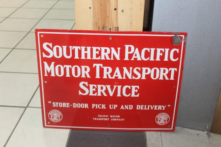 Vintage 1940s Southern Pacific Lines Motor Transport Service Porcelain Sign For Sale 5