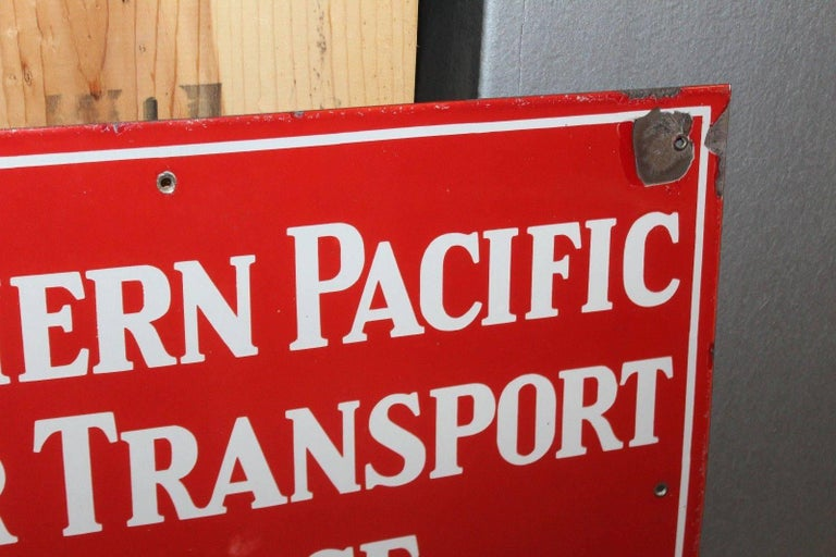 Folk Art Vintage 1940s Southern Pacific Lines Motor Transport Service Porcelain Sign For Sale