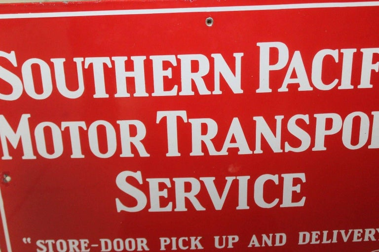 Vintage 1940s Southern Pacific Lines Motor Transport Service Porcelain Sign In Fair Condition For Sale In Orange, CA