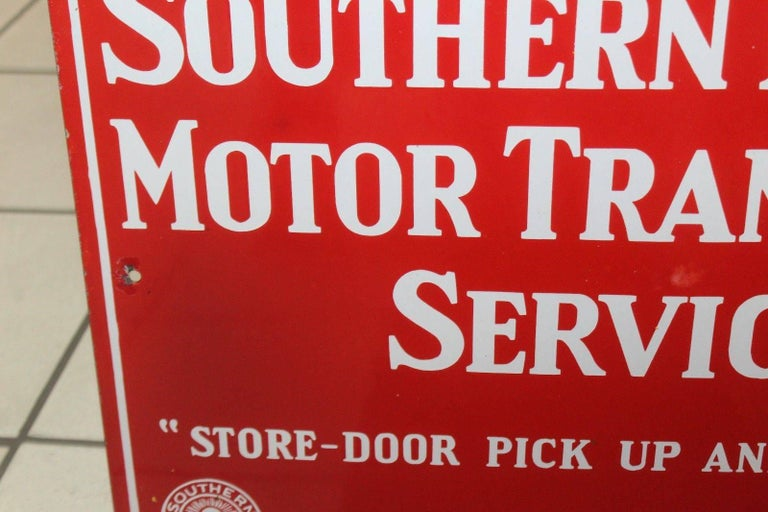 Mid-20th Century Vintage 1940s Southern Pacific Lines Motor Transport Service Porcelain Sign For Sale