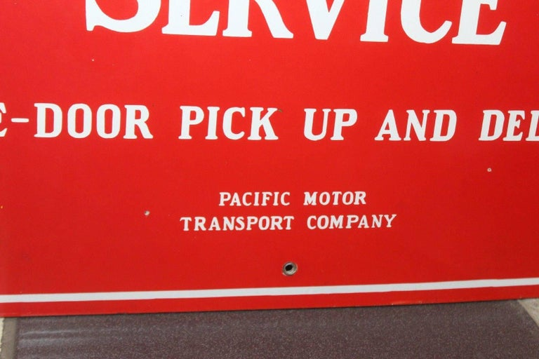Vintage 1940s Southern Pacific Lines Motor Transport Service Porcelain Sign For Sale 2