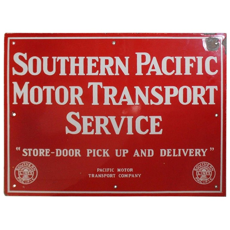 Vintage 1940s Southern Pacific Lines Motor Transport Service Porcelain Sign For Sale
