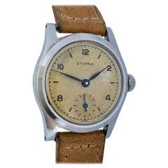 Vintage 1940s Stainless Steel Manual Winding Eterna Watch