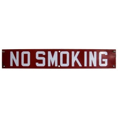 "Vintage 1940s Store Gas Station ""No Smoking"" Porcelain Advertising Display Sign"