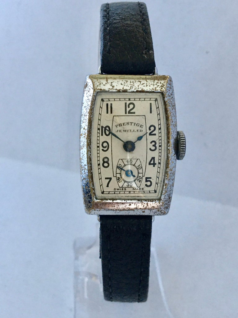 Vintage 1940s Swiss Mechanical Watch For Sale 8