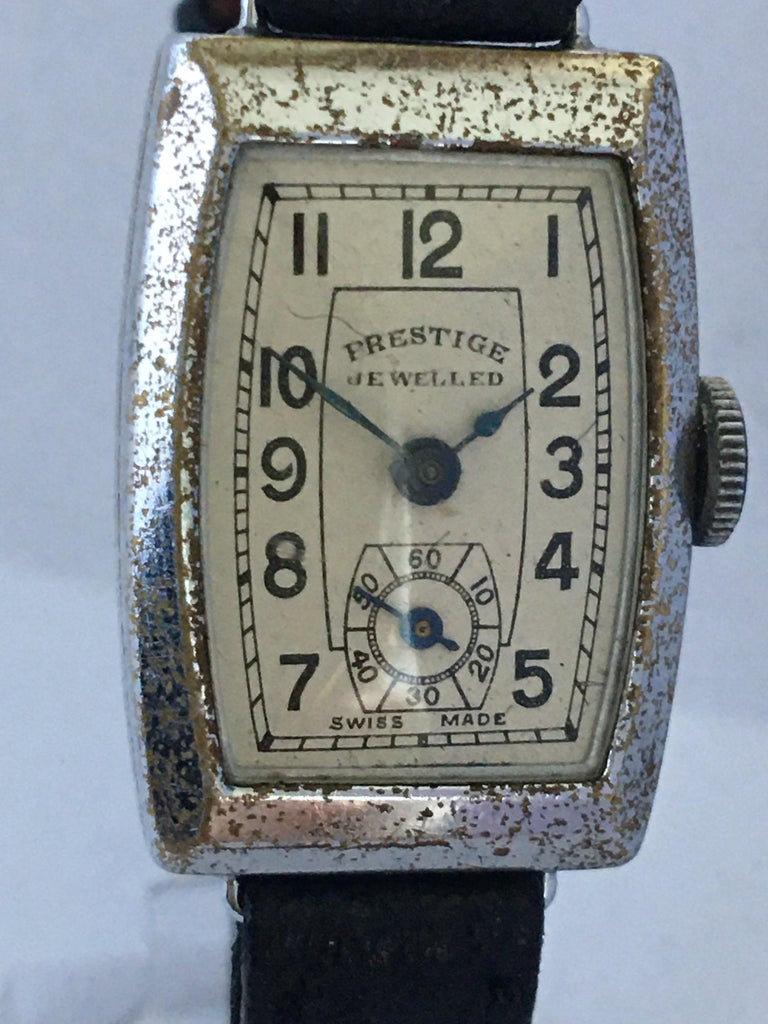 Vintage 1940s Swiss Mechanical Watch In Fair Condition For Sale In Carlisle, GB