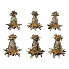Vintage 1940s Tiffany & Co. Gilt Silver Pineapple Place Card Holders, Set of 6