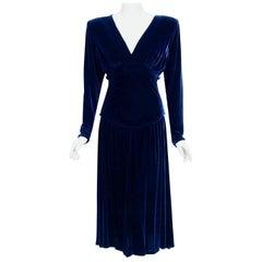 Vintage 1942 Paquin Haute Couture Blue Silk Velvet Sculpted Shelf-Bust Dress