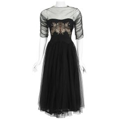Vintage 1945 Irene Lentz Couture Documented Sheer Net-Tulle Lace Illusion Dress