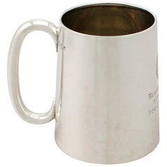 Vintage 1946 Indian Colonial Silver and Glass Pint Mug