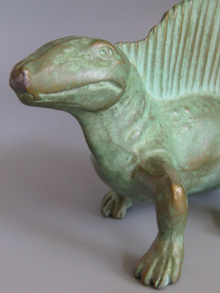 Vintage 1947 SRG Bronze Dimetrodon Dinosaur Science Statue Figure Sculpture For Sale 6