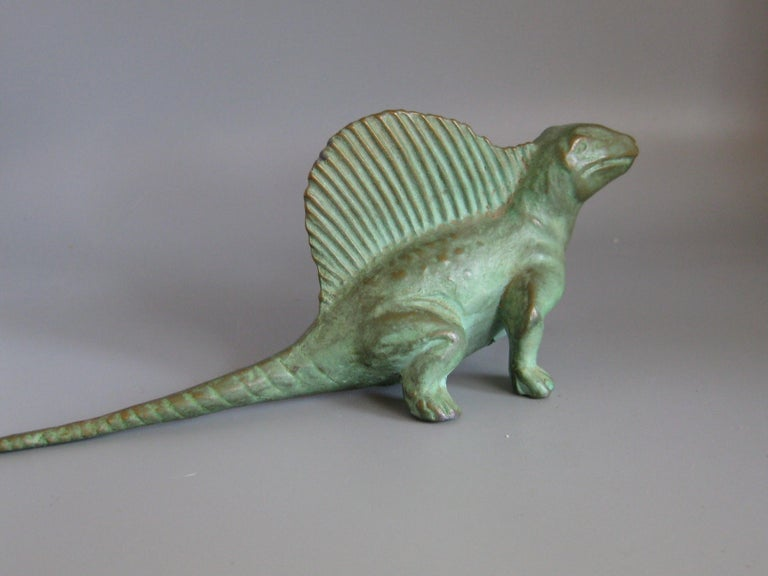 Vintage 1947 SRG Bronze Dimetrodon Dinosaur Science Statue Figure Sculpture For Sale 1