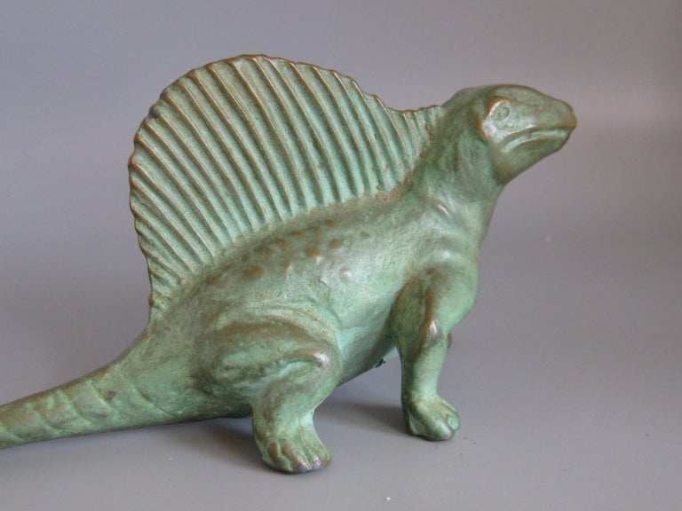 Vintage 1947 SRG Bronze Dimetrodon Dinosaur Science Statue Figure Sculpture For Sale 2