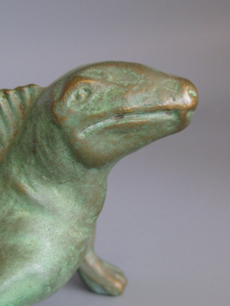 Vintage 1947 SRG Bronze Dimetrodon Dinosaur Science Statue Figure Sculpture For Sale 5