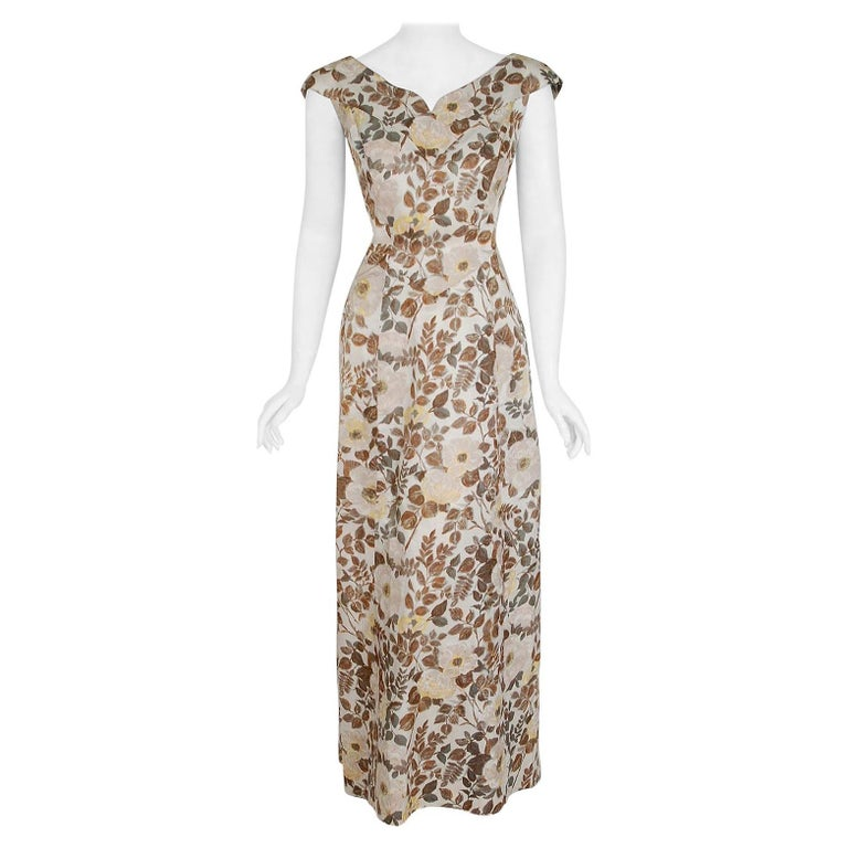 Vintage 1948 Paquin Couture Watercolor Floral Print Silk Hourglass Trained Gown For Sale