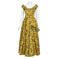 Vintage 1950 Lanvin Castillo Haute-Couture Watercolor Floral Silk Print Gown