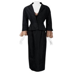Vintage 1950 Pierre Balmain Black and Nude Silk Dress w/ Billow-Sleeve Jacket