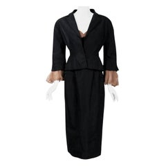 Vintage 1950 Pierre Balmain Black and Nude Silk Dress w/ Billow-Sleeve Jacket