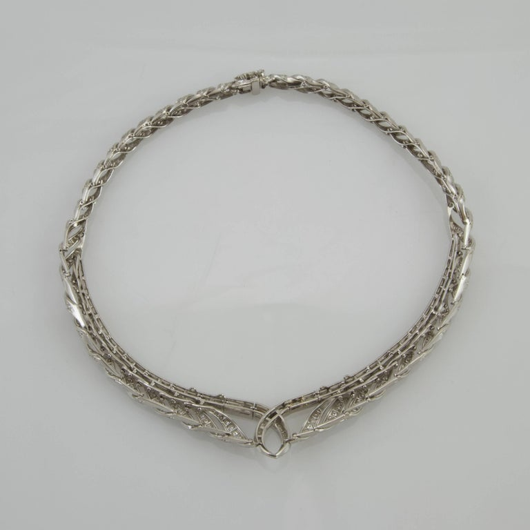 Baguette Cut Vintage 1950 Platinum and Gold Diamond Necklace Made in France For Sale